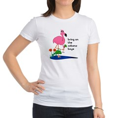 Flamingo on vacation with martini on Jr. Jersey T-Shirt