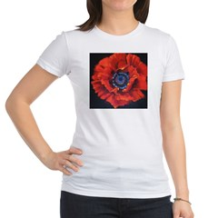 Red Poppy on Black Jr. Jersey T-Shirt