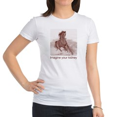 horse imagine your kidney (halftone) Women Light Jr. Jersey T-Shirt