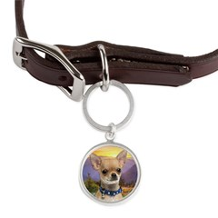 Chihuahua Meadow Large Round Pet Tag
