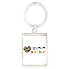 I HEART Someone with Autism - Portrait Keychain