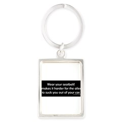 Wear Your Seatbelt Aliens Portrait Keychain