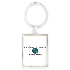 World Revolves Around Lucky Portrait Keychain