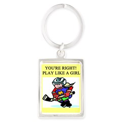 hockey gifts t-shirts Portrait Keychain