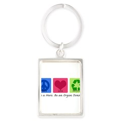 Peace Love Recycle Portrait Keychain
