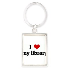 I Love my library Portrait Keychain