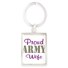 Army Purple Home/Office Portrait Keychain