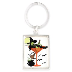 Halloween Martini Girl Portrait Keychain
