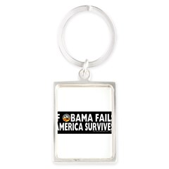 Anti-Obama Obama Fails America Survives Portrait Keychain