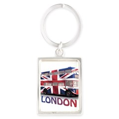 London Bus with Union Jack an Portrait Keychain