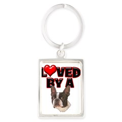 Loved by a Boston Terrier Portrait Keychain