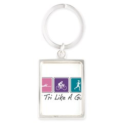 Tri Like A Girl Triathlete Portrait Keychain