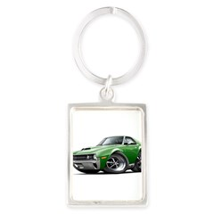 1970 AMX Green Car Portrait Keychain