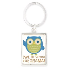 Owl Be Voting for Obama Portrait Keychain