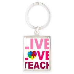 Live Love Teach Autism Portrait Keychain