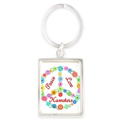 Peace Love Hamsters Portrait Keychain