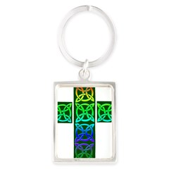 Glowing Celtic Cross Portrait Keychain