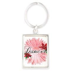 Dancer Pink Snow Flower Portrait Keychain