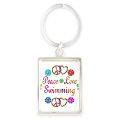 Peace Love Swimming Portrait Keychain