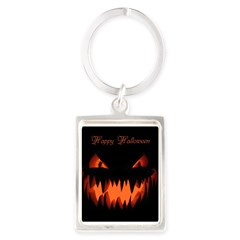 Happy Halloween Pumpkin Portrait Keychain