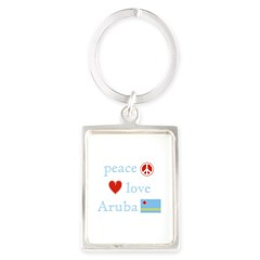 Peace, Love and Aruba Portrait Keychain