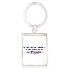 My labrador retriever is smarter (bumper sticker) Portrait Keychain