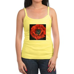 Red Poppy on Black Jr. Spaghetti Tank