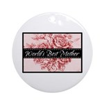 Pink Toile World's Best Mother Mom Ornament (Round