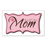 Pink World's Best Mom Plaque Rectangle Sticker