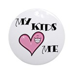 My Kids Love Heart Me Mom Teacher Ornament (Round)