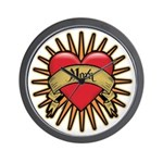 Red Heart Tattoo Mom Mother Wall Clock