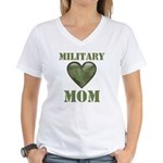 Military Mom Camouflage Camo Heart Women's V-Neck