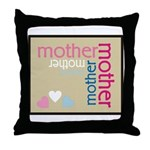 Mother Plaque with Hearts Mother's Throw Pillow