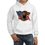 Chocolate Lab Flag Hooded Sweatshirt