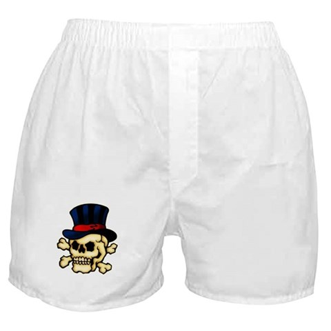 CafePress gt; Underwear amp; Panties gt; Skull in Top Hat Tattoo Art Boxer Shorts. Skull in Top Hat Tattoo Art Boxer Shorts