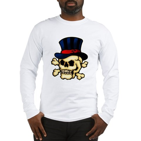 CafePress gt; Long Sleeve T#39;s gt; Skull in Top Hat Tattoo Art Long Sleeve T-Shirt. Skull in Top Hat Tattoo Art Long Sleeve T-Shirt