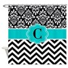 Teal Black Damask Chevron Monogram Shower Curtain