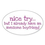 My BoyFriend is Awesome Oval Sticker