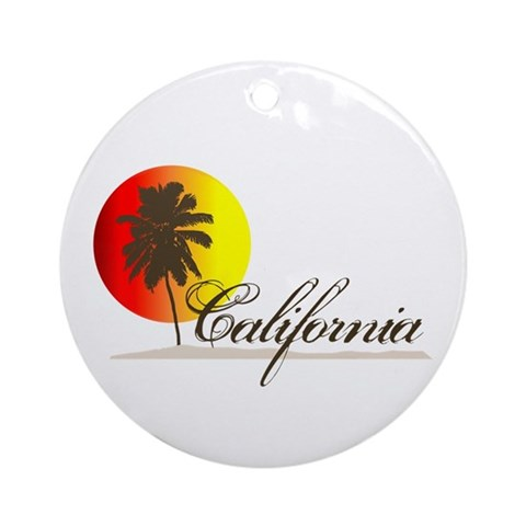 california beaches sunset. California Beaches Sunset Logo Ornament (Round). Designer: Island Vintage - Funny t-shirts Totally cool gifts. Product ID: 157099016