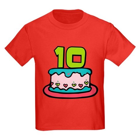 10 Year Old Birthday Cake T