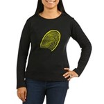 Subtle Thumb Print Women's Long Sleeve Dark T-Shir
