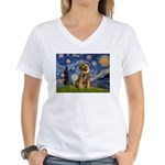 Starry Night / Border Terrier Women's V-Neck T-Shi