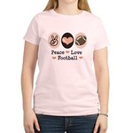Pink Brown Peace Love Football Women's Light T-Shi