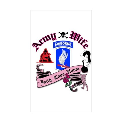 173rd Army Wife Pinup Tattoo Sticker (Rectangular)