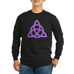 Purple Triquetra Long Sleeve Black T-Shirt