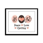 Bicycle Peace Love Cycling Framed Panel Print
