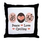 Bicycle Peace Love Cycling Throw Pillow