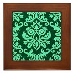 Verdant Damask Framed Tile