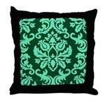 Verdant Damask Throw Pillow