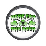 Here for the Beer Shamrock Wall Clock